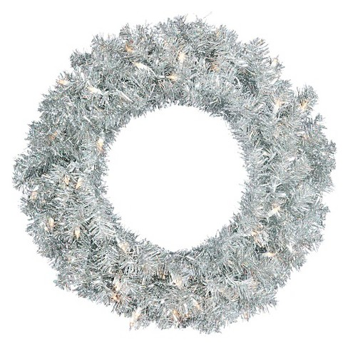 "24"" Pre-Lit Christmas Silver Artificial Wreath White Lights - image 1 of 2"