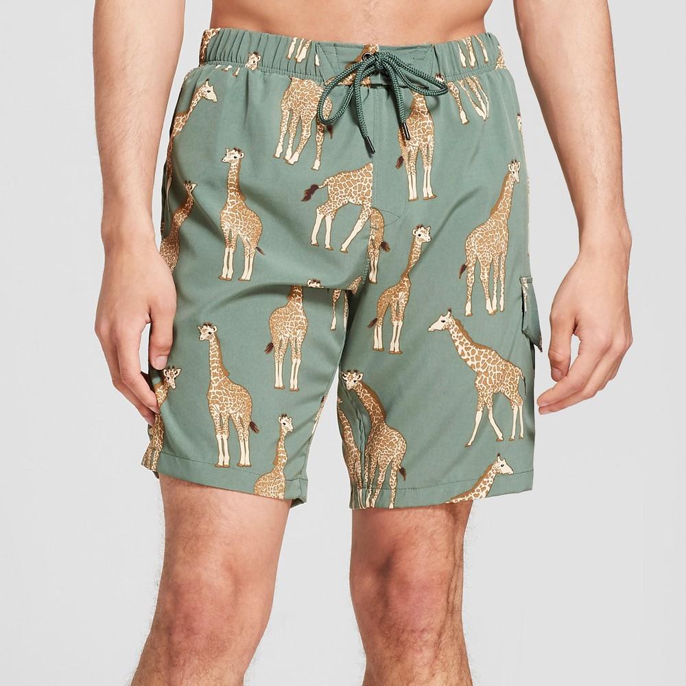 Men's 7.5 Giraffe Swim Trunks - No Retreat Jungle Green Tan S, Green Beige