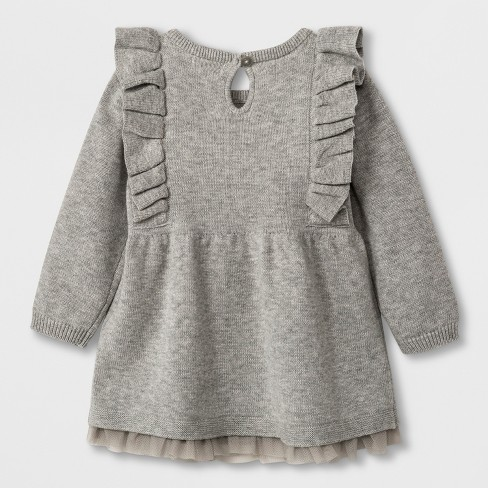 29463c08872 Baby Girls  Long Sleeve Ruffle Shoulder Sweater Dress - Cat   Jack™ Gray    Target
