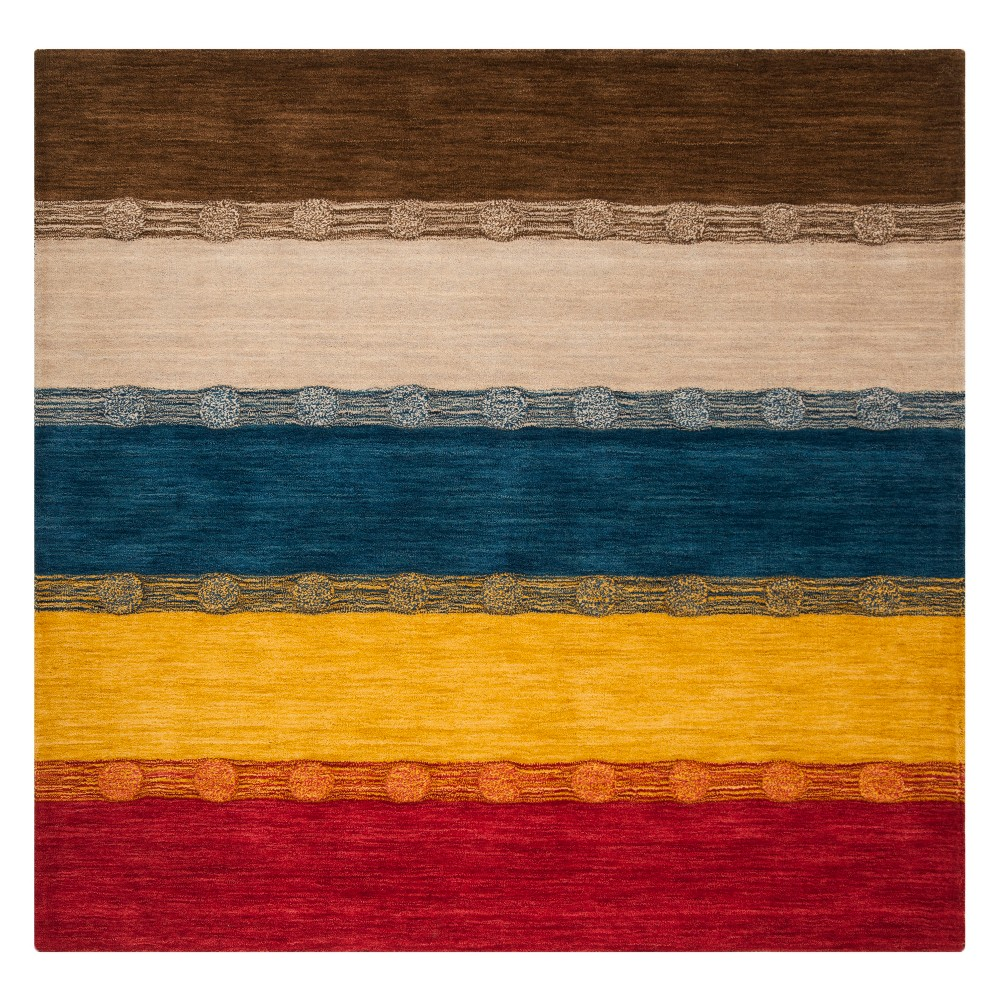 6'X6' Stripe Loomed Square Area Rug Beige - Safavieh