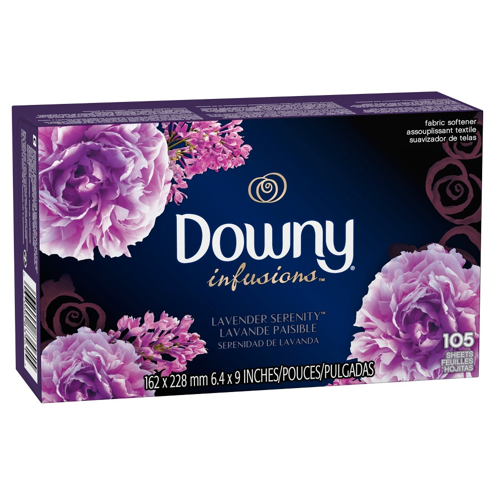 Downy Infusions Lavender Scented Serenity Fabric Softener Dryer Sheets - 105ct