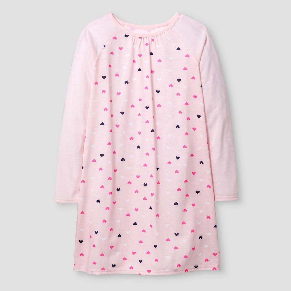 Girls' Raglan Long Sleeve Nightgown - Cat & Jack Hearts S, Loring Pink