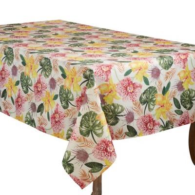 Saro Lifestyle Floral Design Tablecloth With Lanai Print