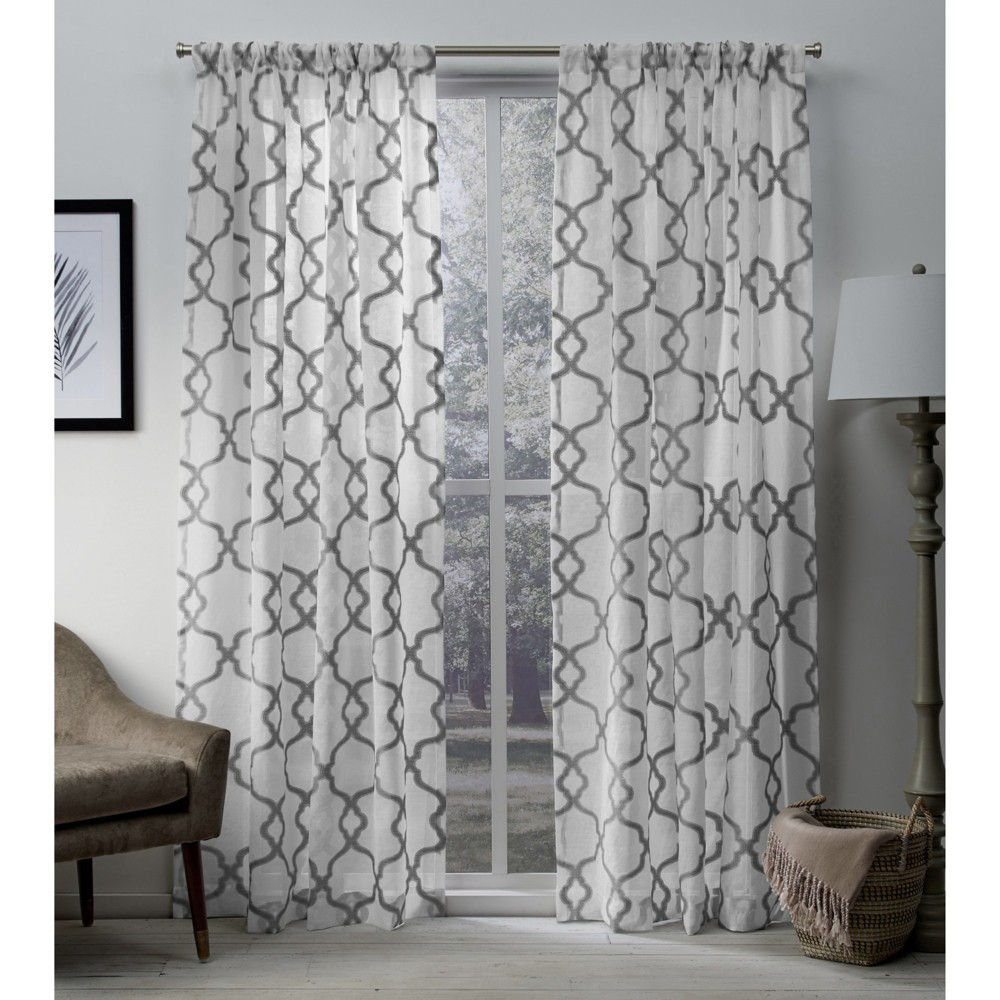 Muse Geometric Textured Jacquard Linen Sheer Rod Pocket Window Curtain Panel Pair Silver 54x96 - Exclusive Home