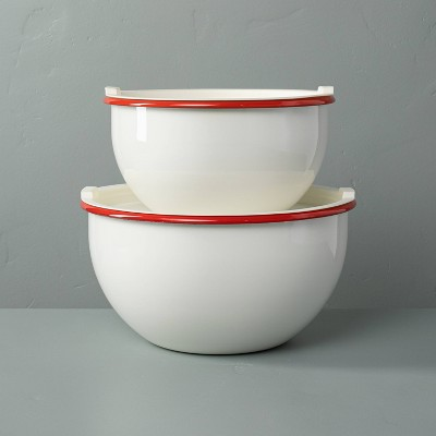 2pk Enamel Serve Bowls with Lids Red/Cream - Hearth & Hand™ with Magnolia