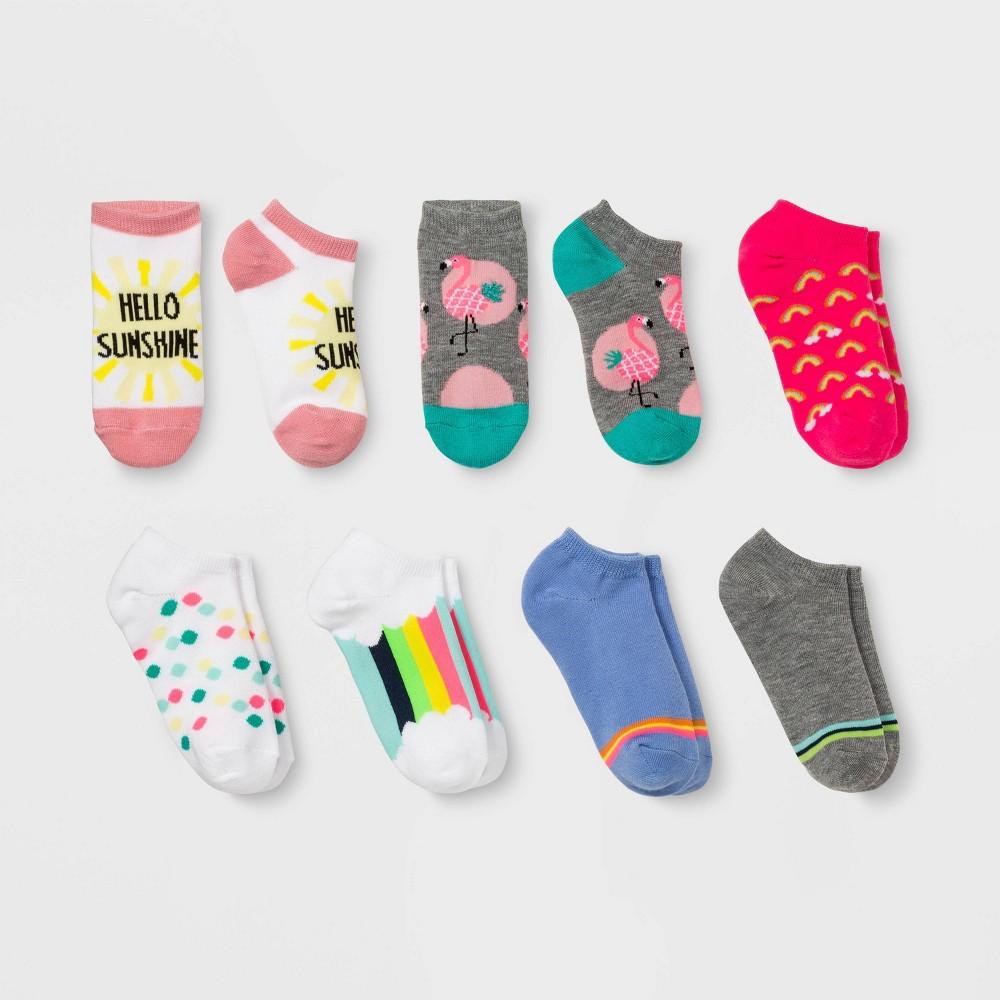 Girls' 7pk Flamingo Print No Show Socks - Cat & Jack Colors May Vary S, Gray