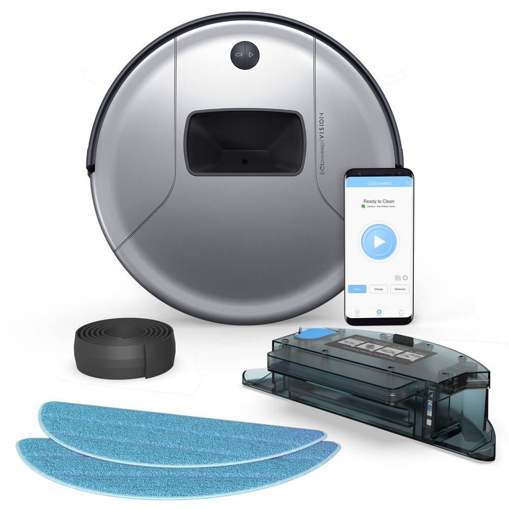 Image of bObsweep PetHair Vision Wi-Fi Connected Robotic Vacuum Cleaner and Mop - Steel