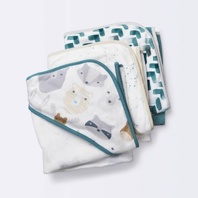Baby Boys' 3pk Cub Hooded Bath Towel Set - Cloud Island™ White