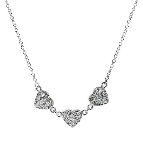 Tressa Collection Cubic Zirconia Pave Heart Necklace in Sterling Silver - image 1 of 4