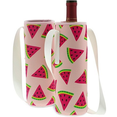 Juvale Wine Carrier Bag, 2-Pack Insulated Polyester Tote Bag with Shoulder Strap for Travel & Portable, Holds Standard Size Bottle of Wine, Watermelon