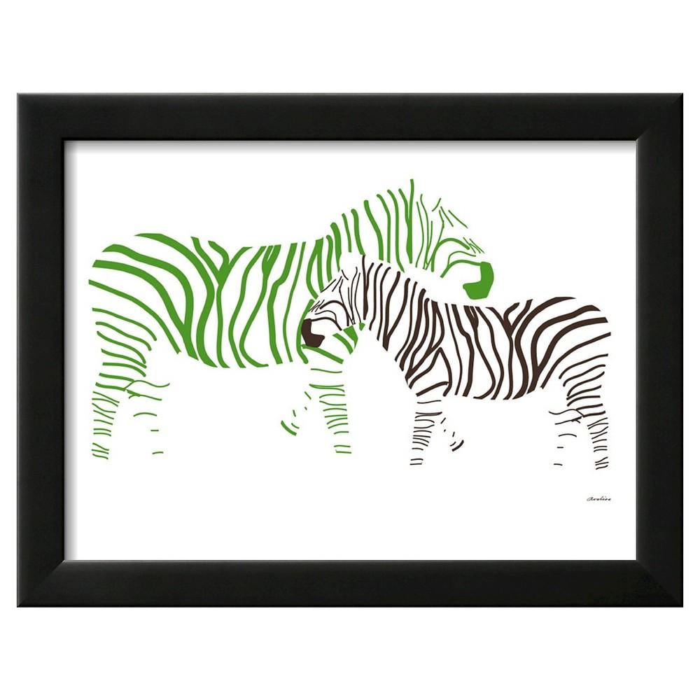 Art.com Zebra Framed Art Print, Green With Black Frame