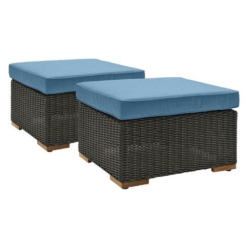 La Z Boy Outdoor New Boston 2pc Wicker Ottoman With Sunbrella Spectrum Denim Cushion