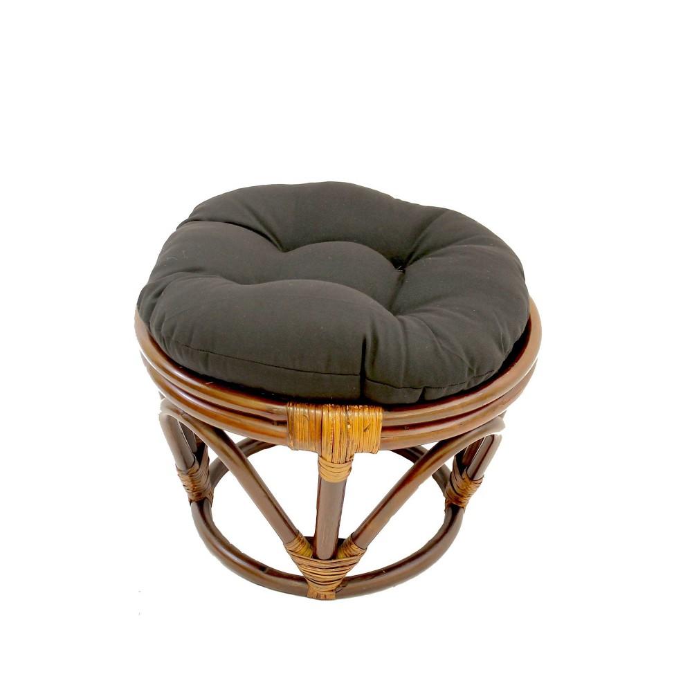 Rattan Footstool With Twill Cushion Black International Caravan