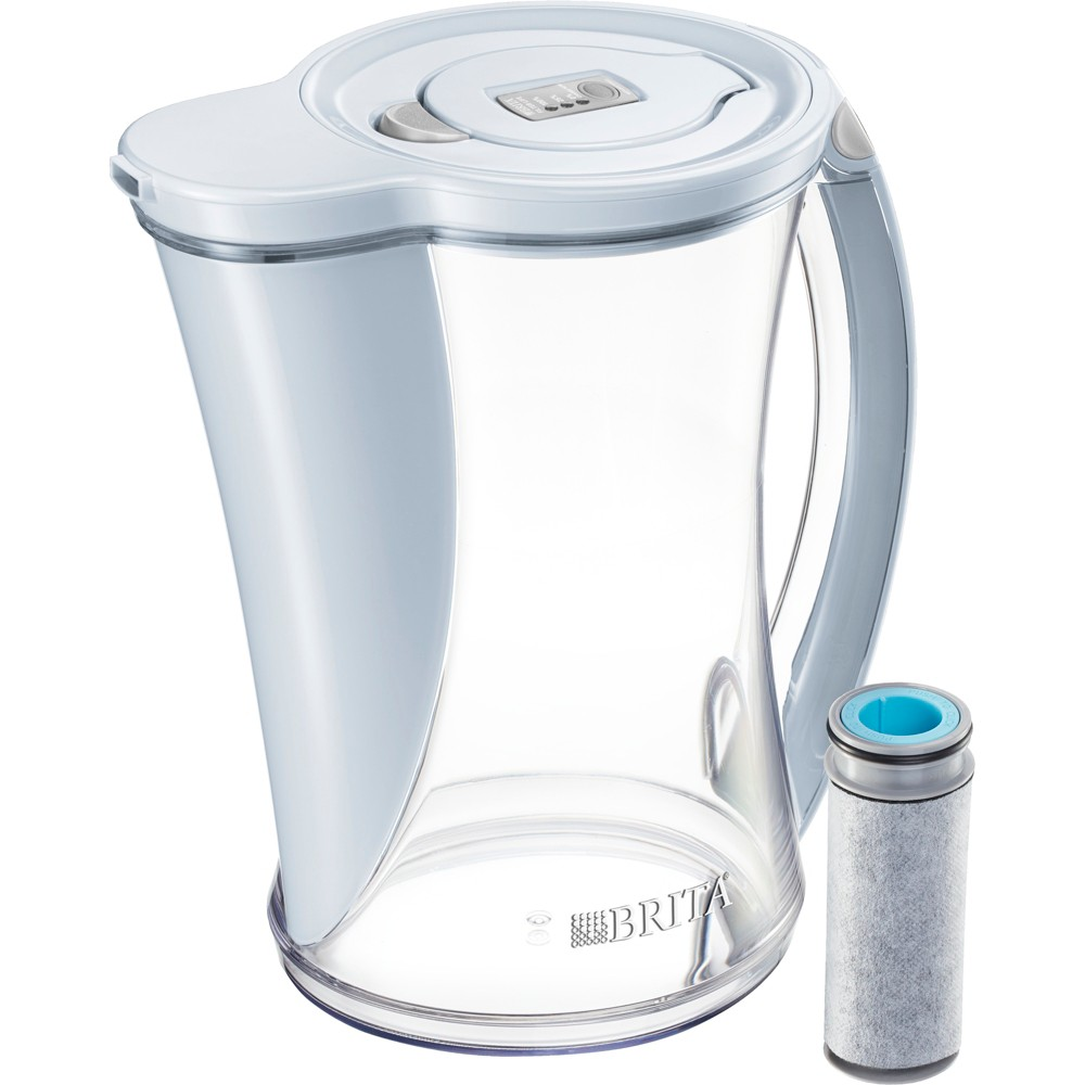 Image of Brita 12-Cup Stream Filter As You Pour Water Pitcher with 1 Filter, Cascade - BPA Free – Ice, Gray White