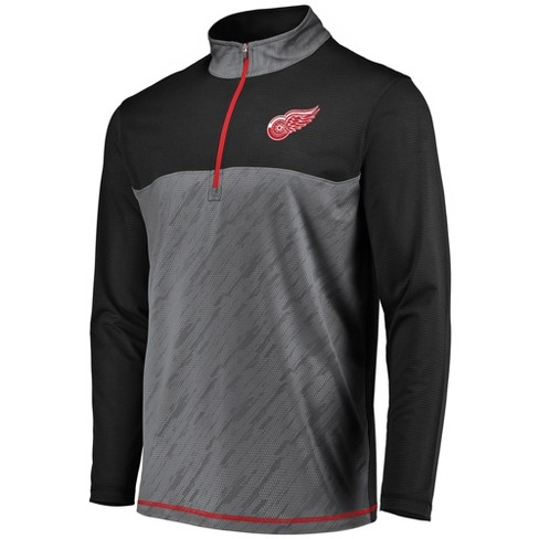 2cb28825a70 NHL Detroit Red Wings Men s Striped Geo Fuse Gray  Black 1 4 Zip ...