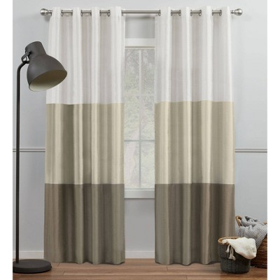 Set of 2 Chateau Striped Faux Silk Light Filtering Grommet Top Window Curtain Panels - Exclusive Home