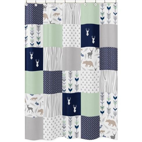 Woodsy Shower Curtain Navy - Sweet Jojo Designs - image 1 of 3