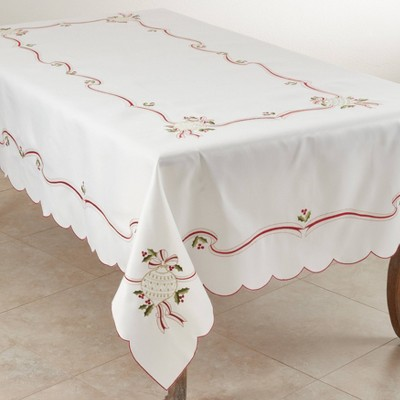 "65"" X 104"" Embroidered Christmas Tablecloth Ivory - SARO Lifestyle"