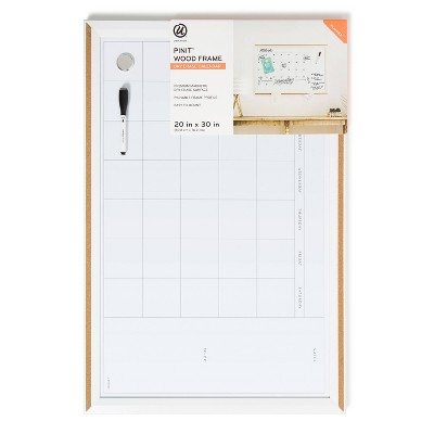 "U Brands 20""x30"" PINIT Magnetic Dry Erase Calendar Board Wood Frame"