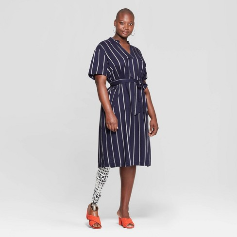 Women\'s Plus Size Striped V-Neck Dress - Ava & Viv™ Navy : Target