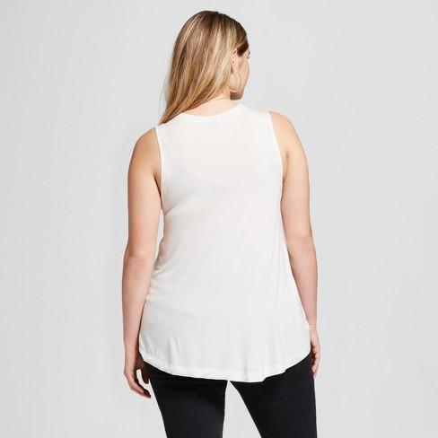 f300aaee6dbf7 Women s Plus Size GRL PWR Scoop Neck Drapey Graphic Muscle Tank Top - Fifth  Sun White   Target
