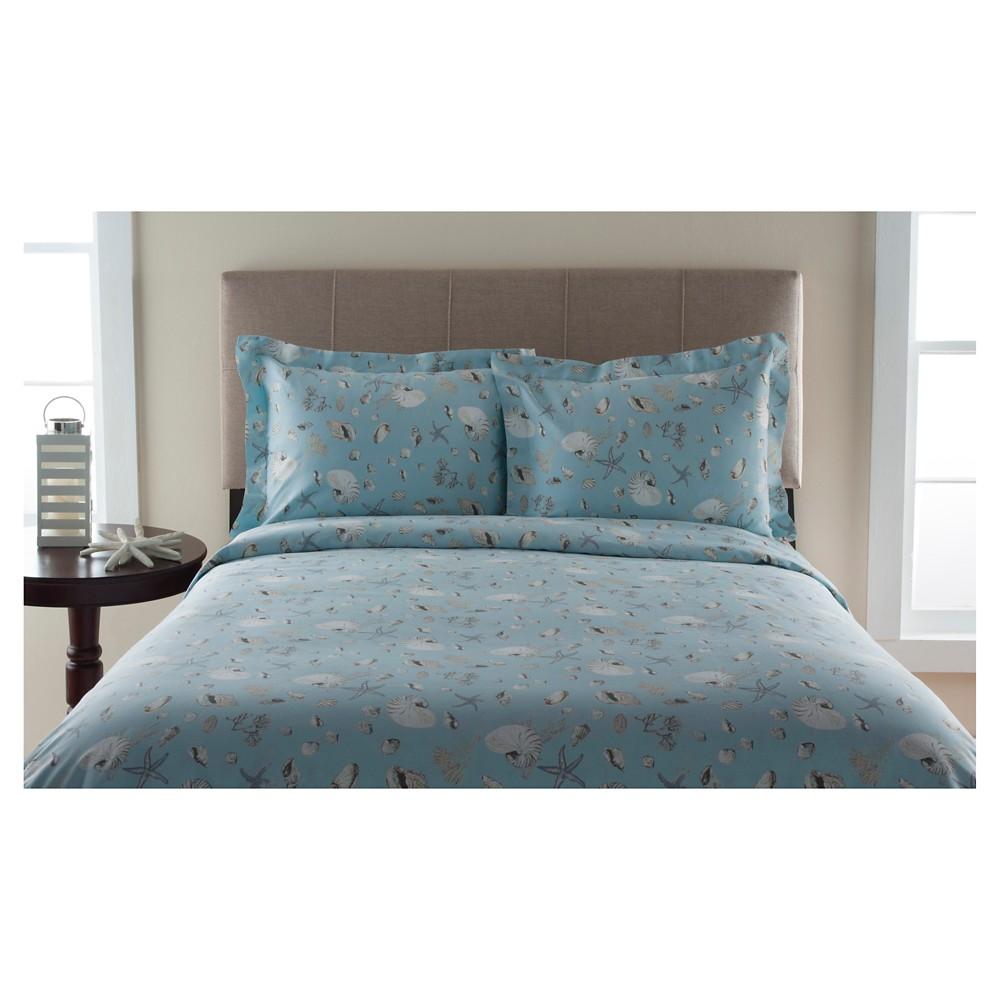 300tc Oceanside 100% Cotton Print Duvet Set (Twin) Sea (Blue)