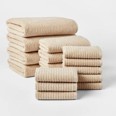 16pk Quick Dry Bath Towel Starter Bundle Tan - Threshold™