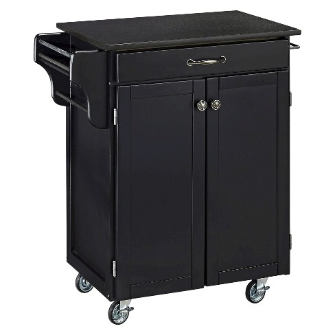 Small Kitchen Cart With Granite Top Wood Black Home Styles