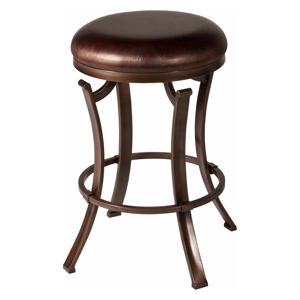 Kelford Backless 26 Swivel Counter Stool Textured Black/Cocoa - Hillsdale Furniture