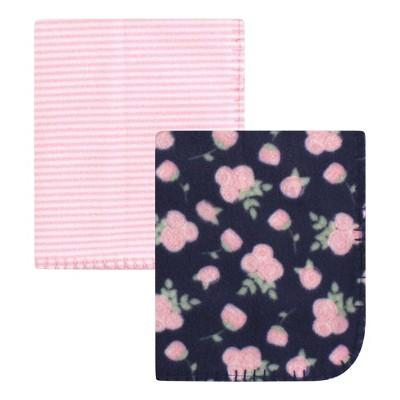 Hudson Baby Infant Girl Fleece Blankets, Navy Rose, One Size