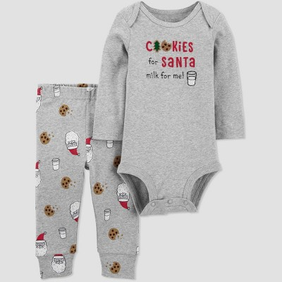 Baby 2pc 'Cookies for Santa' Top and Bottom Set - Just One You® made by carter's Gray Newborn
