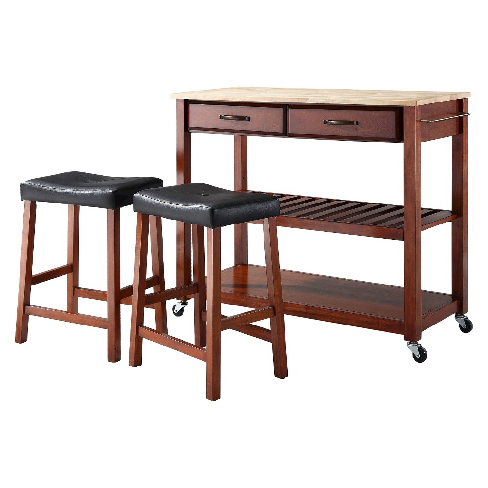 Natural Wood Top Kitchen Cart/Island - Classic Cherry (Red) With 24 Cherry Upholstered Saddle Stools - Crosley