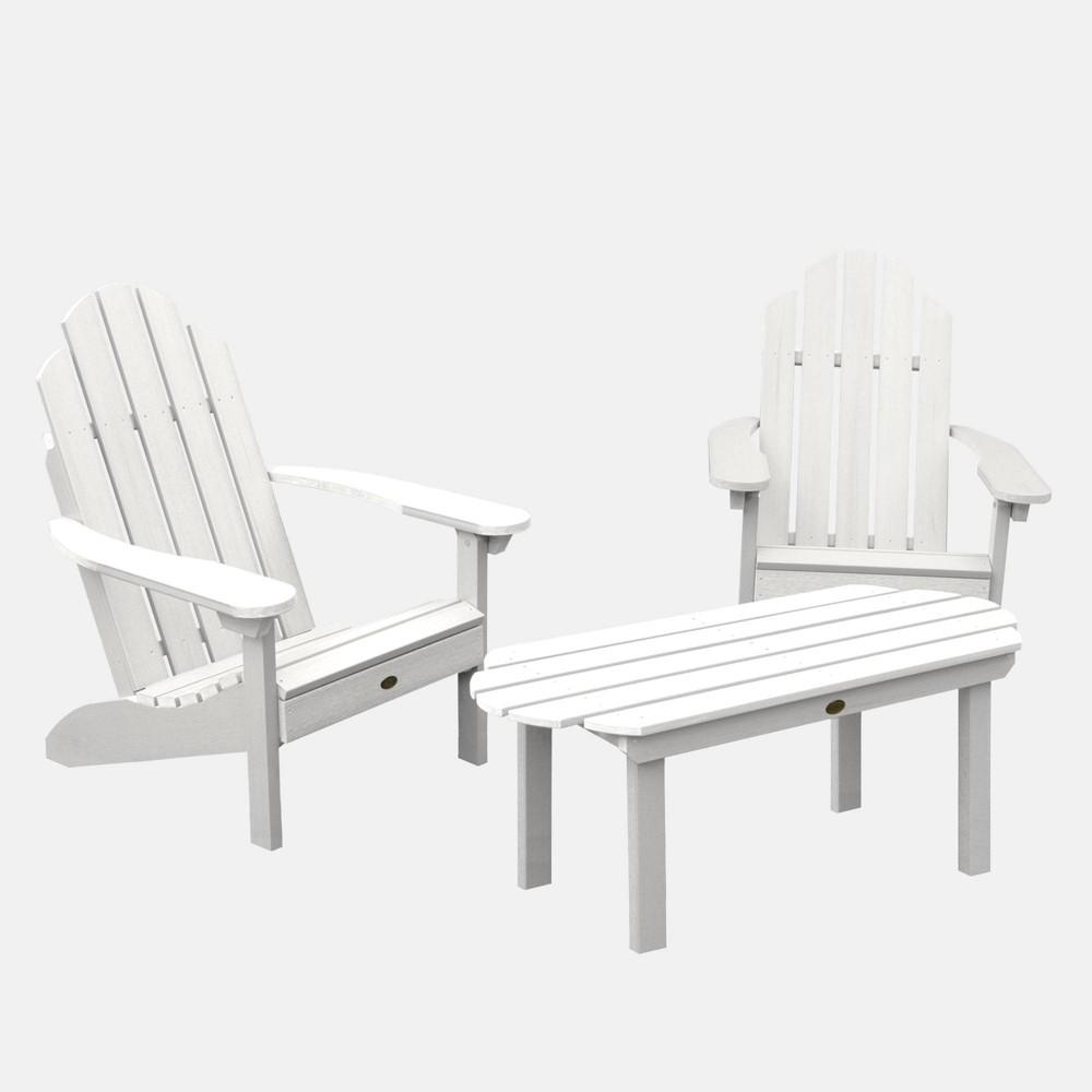 Image of 3pc Classic Westport Adirondack Conversation Patio Set White - highwood
