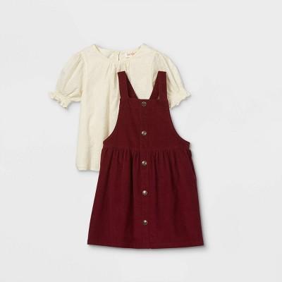 Toddler Girls' Eyelet Top & Corduroy Skirtall Set - Cat & Jack™ Cream/Burgundy