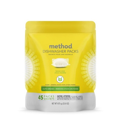 Method Dishwasher Detergent Power Packets Lemon Mint - 45ct