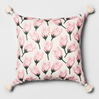 Velvet Printed Floral Oversize Square Throw Pillow - Opalhouse™