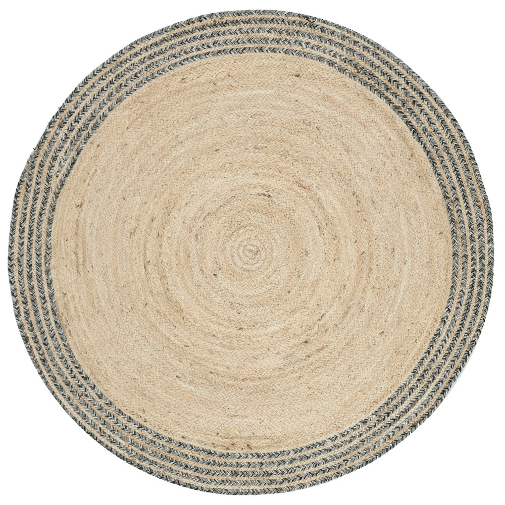 5' Solid Woven Round Area Rug Ivory/Steel (Ivory/Silver) - Safavieh