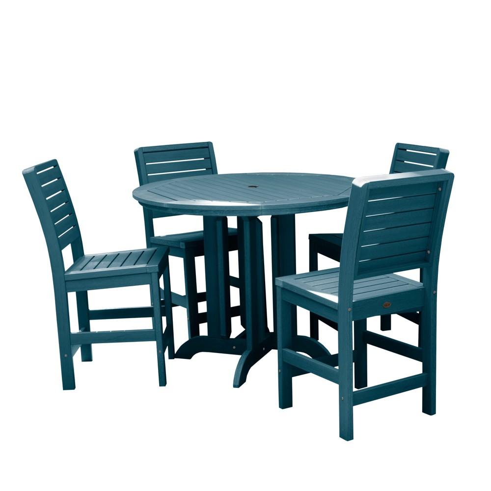 Image of 5pc Weatherly Round Counter Patio Dining Set Nantucket Blue - highwood