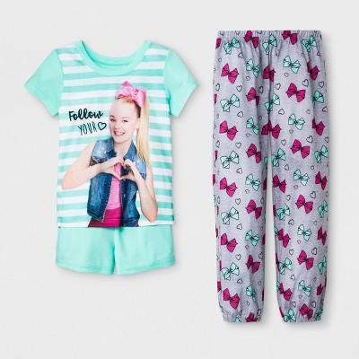 Girls' JoJo Siwa 3pc Pajama Set - Green/Heather Gray 4