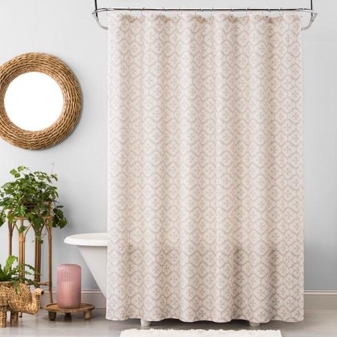 Plus Medallion Shower Curtain Beige Linen