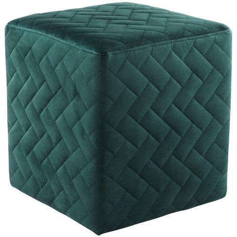 Micah Green Velvet Cube Ottoman - Quilted - Upholstered in Green - Posh Living - image 1 of 3