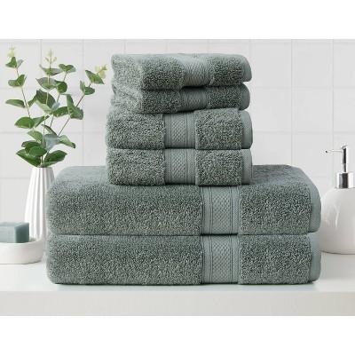 6pk Low Twist Bath Towel Set with Enhanced Microban Green - Cannon