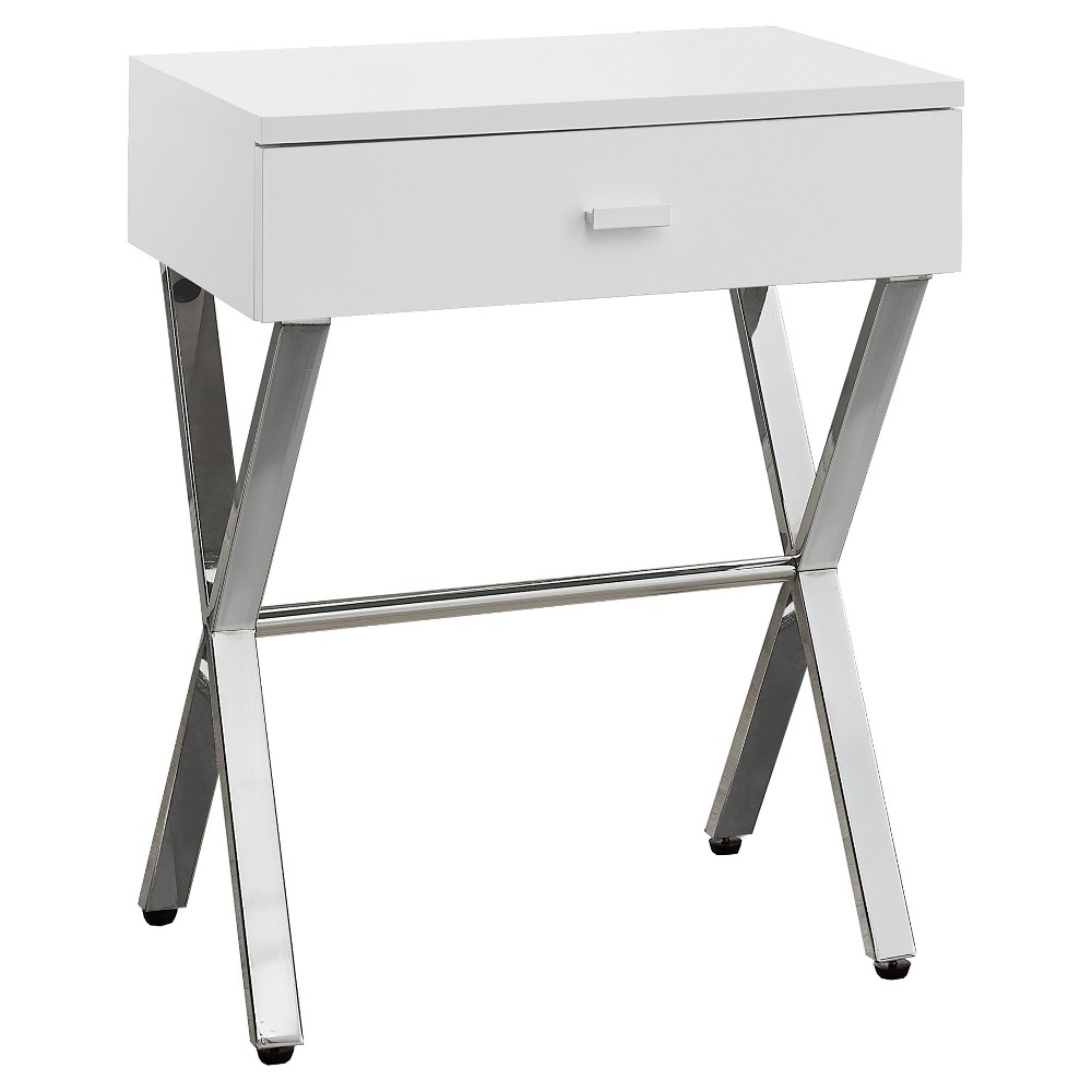 Accent Table, Night Stand - Chrome Metal, Glossy White - EveryRoom