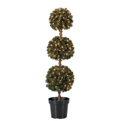 Home Heritage 4 Foot Artificial Topiary Tree w/ Clear Lights for Entryway Decor