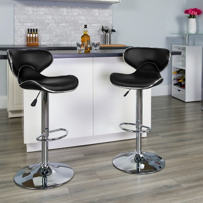 Flash Furniture Contemporary Cozy Mid-Back Vinyl Adjustable Height Barstool with Chrome Base