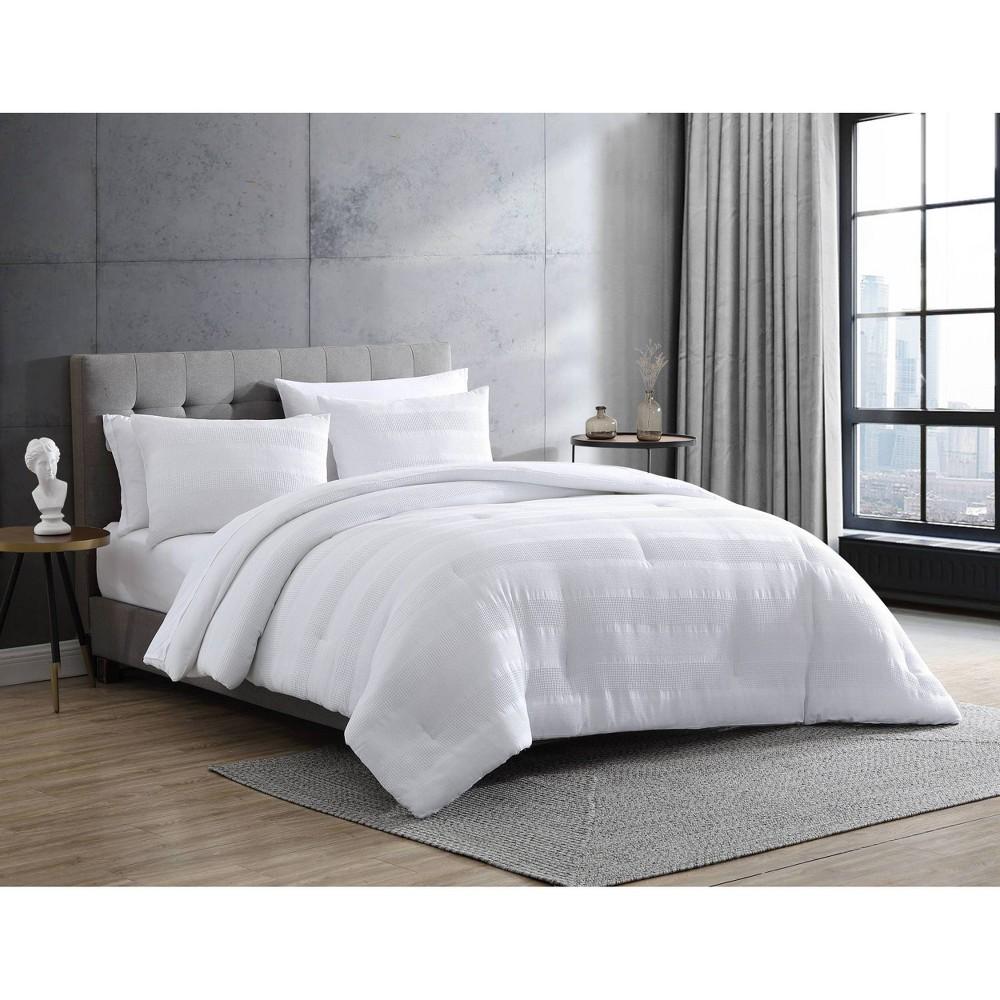 King Waffle Stripe Comforter 38 Sham Set White Ed By Ellen Degeneres