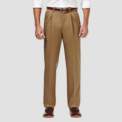 Haggar Men's Premium No Iron Classic Fit Pleated Casual Pants