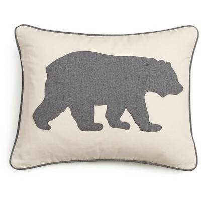 "Bear Throw Pillow Gray (16X20"")- Eddie Bauer"