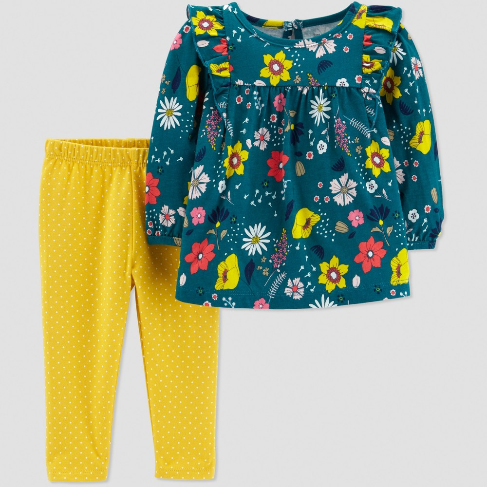 Toddler Girls' 2pc Floral Set - Just One You made by carter's Green 2T