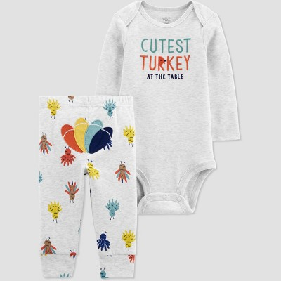 Baby 2pc Thanksgiving Bodysuit - Just One You® made by carter's Gray 9M